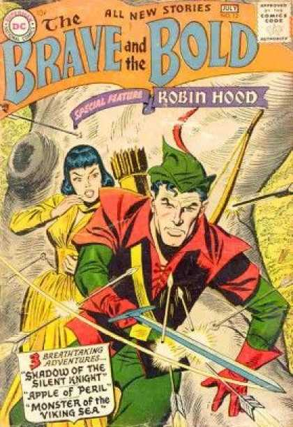 Brave and the Bold 12 - Robin Hood - Bow - Arrow - Green Hat - Yellow - George Perez, Tom Smith