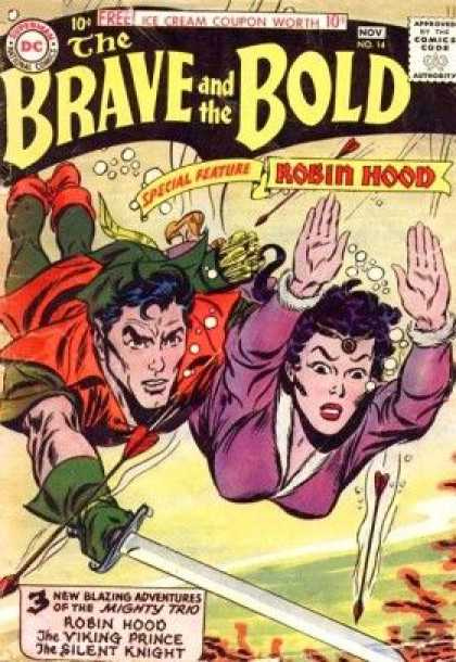 Brave and the Bold 14 - Free Ice Cream Coupon - Robin Hood - The Viking Prince - The Silent Kmight - Underwater - Scott Kolins