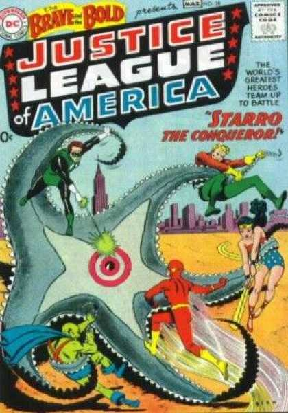 Brave and the Bold 28 - Monster Starfish - Superhero - Wonderwoman - Spiderman - Building - Murphy Anderson