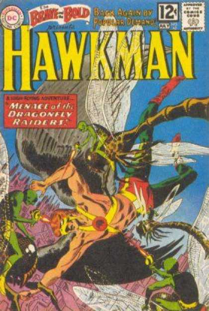 Brave and the Bold 42 - Hawkman - Menace Of The Dragonfly Raiders - Green Men - Wings - Red Boots - Joe Kubert