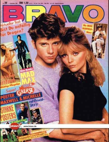 Bravo - 36/82, 02.09.1982 - Michelle Pfeiffer & Maxwell Caulfield (Grease 2, Fim) -