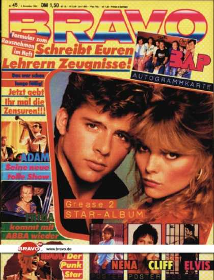 Bravo - 45/82, 04.11.1982 - Michelle Pfeiffer & Maxwell Caulfield (Grease 2, Fim)