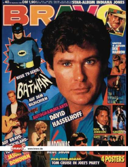 Bravo - 40/89, 28.09.1989 - David Hasselhoff - Den Harrow - Batman (TV Serie) - Jason Do