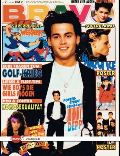 Bravo - 07/91, 07.02.1991 - Johnny Depp - Billy Warlock (Baywatch, TV Serie) - Bon Jovi