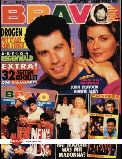 Bravo - 17/91, 18.04.1991 - John Travolta / Kirstie Alley - Donnie Wahlberg (New Kids on