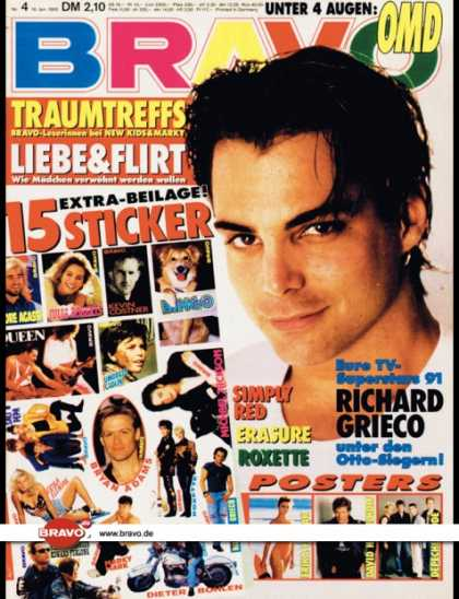 Bravo - 04/92, 16.01.1992 - Richard Grieco - OMD - Simply Red - Erasure - Roxette