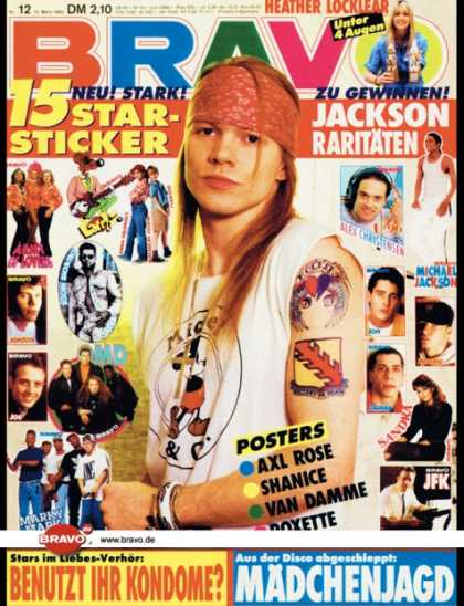Bravo - 12/92, 12.03.1992 - Axl Rose (Guns N' Roses) - Heather Locklear -