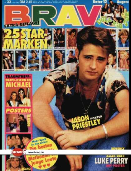 Bravo - 33/92, 06.08.1992 - Jason Priestley (Beverly Hills 90210, TV Serie) - Luke Perry