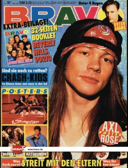 Bravo - 37/92, 03.09.1992 - Axl Rose (Guns N' Roses) - Bryan Adams