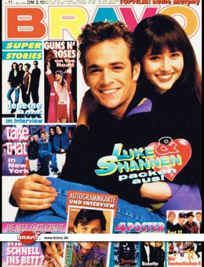 Bravo - 11/93, 11.03.1993 - Luke Perry & Shannen Doherty (Berverly Hills 90210, TV Serie