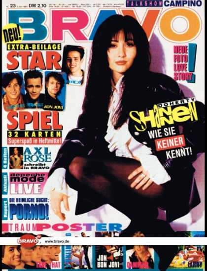 Bravo - 23/93, 03.06.1993 - Shannen Doherty (Beverly Hills 90210, TV Serie) - Axl Rose (