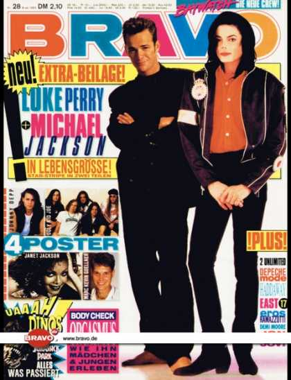 Bravo - 28/93, 08.07.1993 - Luke Perry (Beverly Hills 90210, TV Serie) & Michael Jackso