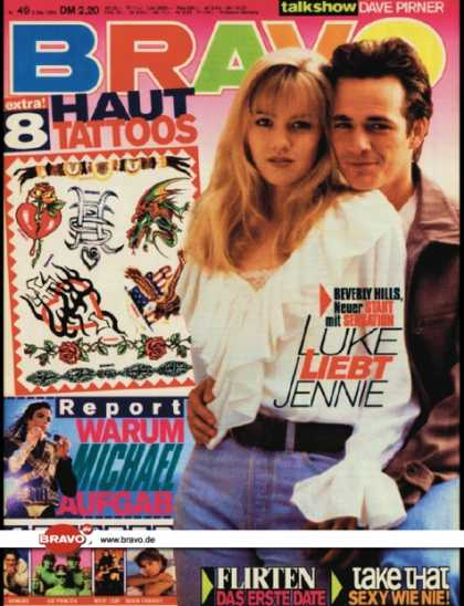 Bravo - 49/93, 02.12.1993 - Luke Perry & Jennie Garth (Beverly Hills 90210, TV Serie) -