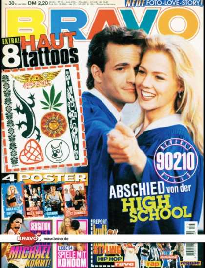 Bravo - 30/94, 21.07.1994 - Luke Perry & Jennifer Garth (Beverly Hills 90210, TV Serie)