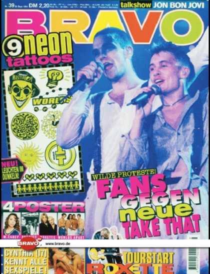 Bravo - 39/94, 22.09.1994 - Robbie Williams, Mark Owen (Take That) - Roxette