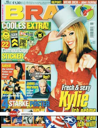 Bravo - 15/02, 03.04.2002 - Kylie Minogue - Aaliyah - Natural - Ben - James Marsters (Bu