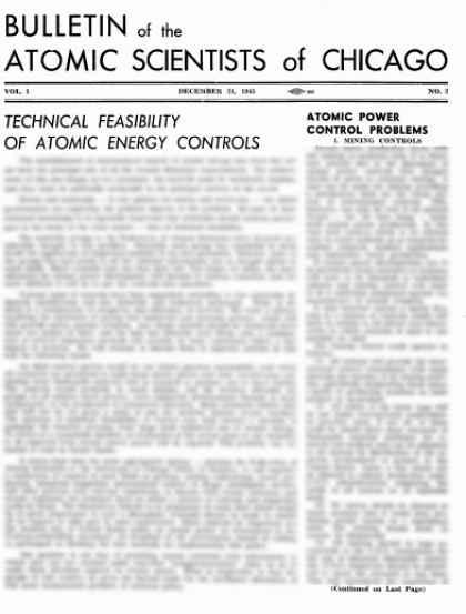 Bulletin of the Atomic Scientists - December 1945