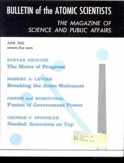 Bulletin of the Atomic Scientists - June 1962