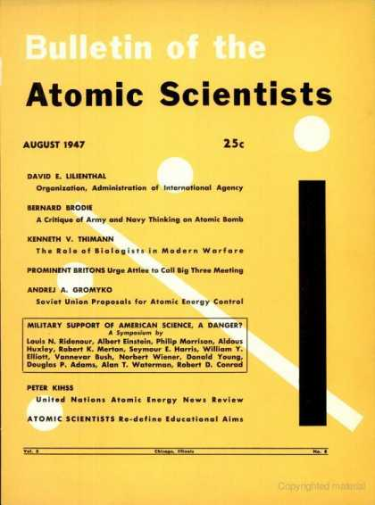 Bulletin of the Atomic Scientists - August 1947