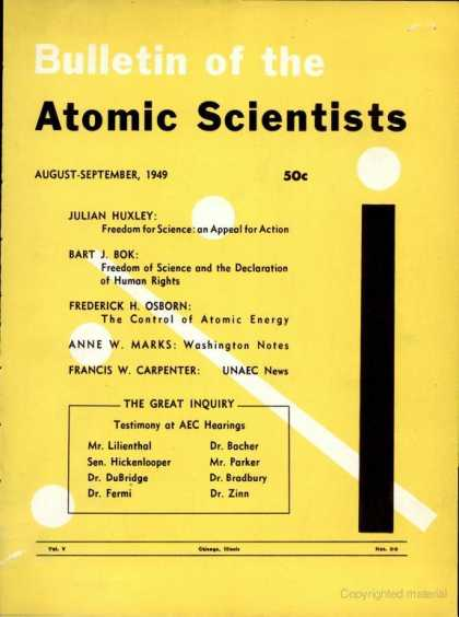 Bulletin of the Atomic Scientists - August 1949