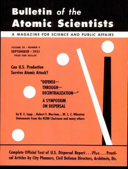 Bulletin of the Atomic Scientists - September 1951