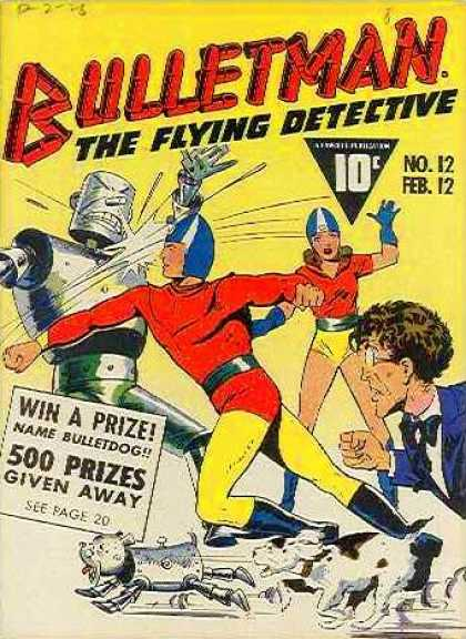 Bulletman 12 - Flying Detective - Robot - Woman - Helmet - Blue And White