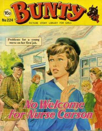 Bunty Picture Story Library 224 - Problems For A Young Nurse - On Her First Job - No Welcome For Nurse Carson - Window - Building
