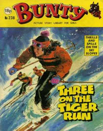 Bunty Picture Story Library 238 - Three On The Tiger Run - Ski Slope - Skiers - Ski Poles - Skis