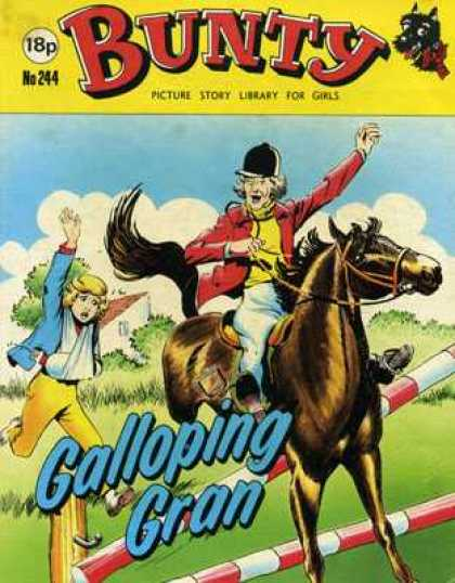 Bunty Picture Story Library 244 - Galloping Gran - Horse - Broken Arm - Jump - Chase
