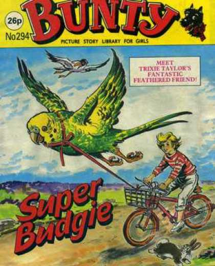 Bunty Picture Story Library 294 - Super Budgie - Bicycle - Trixie Taylor - Rabbit - Stork