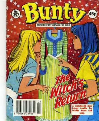 Bunty Picture Story Library 357 - Witch - Dress - Girls - Blue Hair - Stars