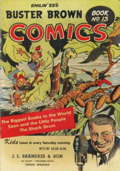 Buster Brown Comics 13 - Smilin Eds - Nbc - The Biggest Snake In The World - Book No 13 - The Shark Drum
