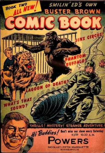 Buster Brown Comics 2 - Animal - Line - Letters - Cages - Lion