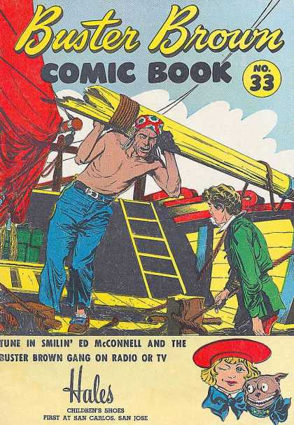 Buster Brown Comics 33 - Pirates - Broken Mast - Cabin Boy - Red - In Trouble