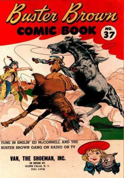 Buster Brown Comics 37 - Indian - Lasso - Horses - Kicking Up Dust - Wild West