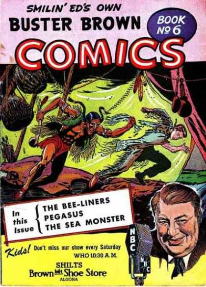 Buster Brown Comics 6 - Pegasus - Bee-liners - The Sea Monster - Boy Being Chased - Who