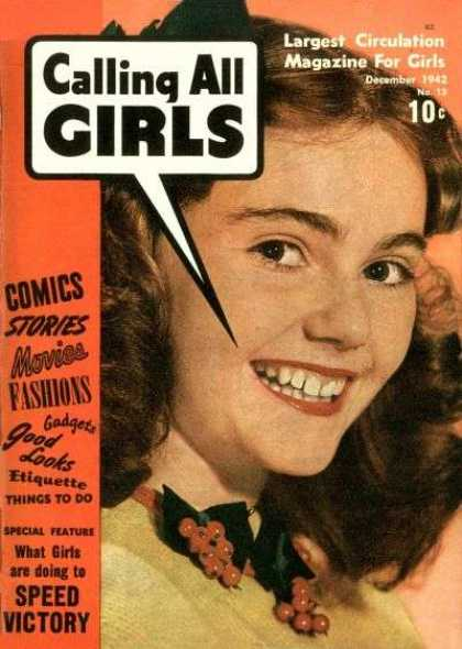 Calling All Girls 13 - Largest Circulation Magazine For Girls - December - Speed Victory - Good Looks - Fashions