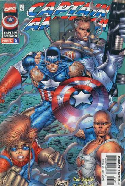 Captain America (1996) 5 - One Eyed Villain - Shield - American Flag Design - Bald Man - Star Sign - Rob Liefeld