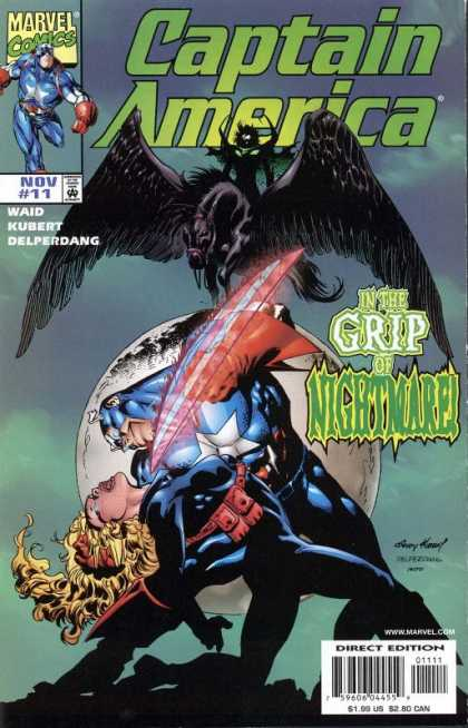 Captain America (1998) 11 - Nightmare - In The Grip Of A Nightmare - Captain America Nightmare - Woman With Captain America - Flying Beast In Background - Andy Kubert
