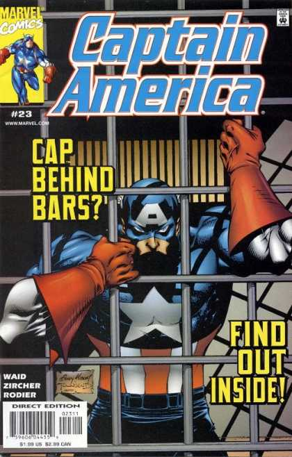Captain America (1998) 23 - Cap Behind Bars - Marvel Comics - Waid - Jail Cell - Zircher - Andy Kubert