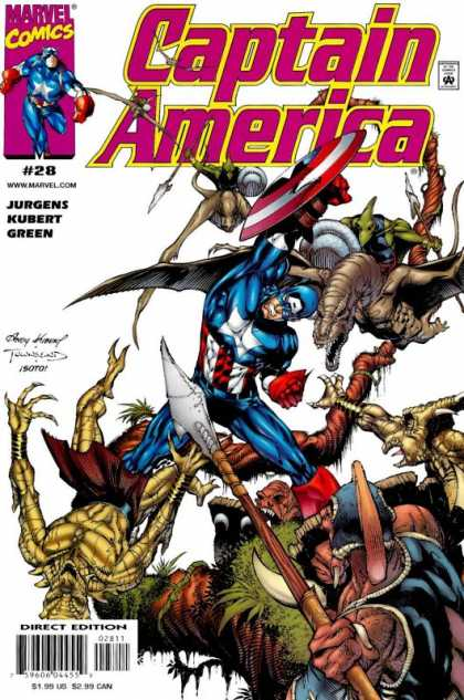 Captain America (1998) 28 - Villians - Captain America - Reptile - Tree Branch - Spears - Andy Kubert