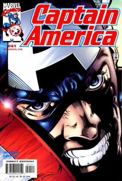 Captain America (1998) 41 - Mask - Blue Eyes - Grit Teeth - Shield - Close-up - Dan Jurgens