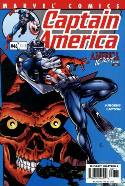 Captain America (1998) 46 - White Star Symbol - Shield - Skull Face - Breathing Equipment - Fins - Dan Jurgens