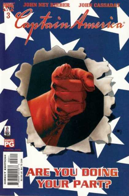 Captain America (2002) 3 - Red Glove - Pointing Finger - Stars On Blue Background - American Flag - Are You Doing Your Part - John Cassaday