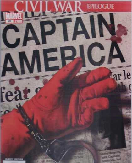 Captain America (2004) 0 - Newspaper - Hand - Civil War Epilogue - Blood - Handcuffs