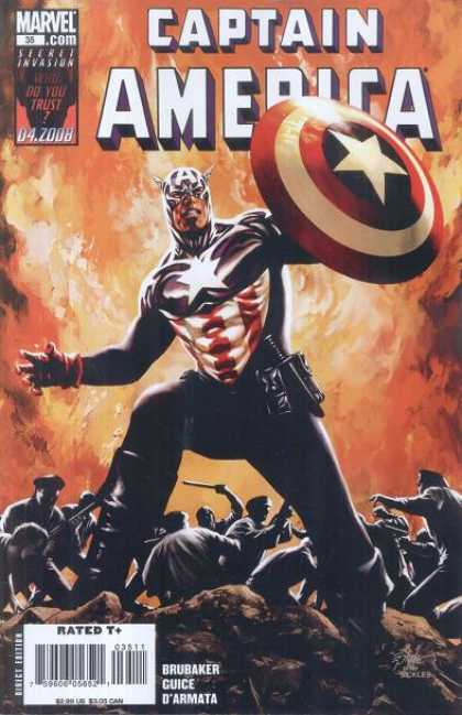 Captain America (2004) 35 - Secret Invasion - Shield - Police - Billy Club - Knife