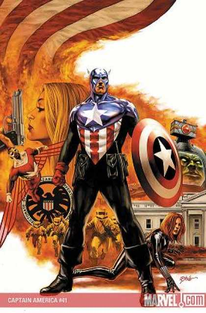 Captain America (2004) 41 - Captain America - Gun - Shield - White House - Flag