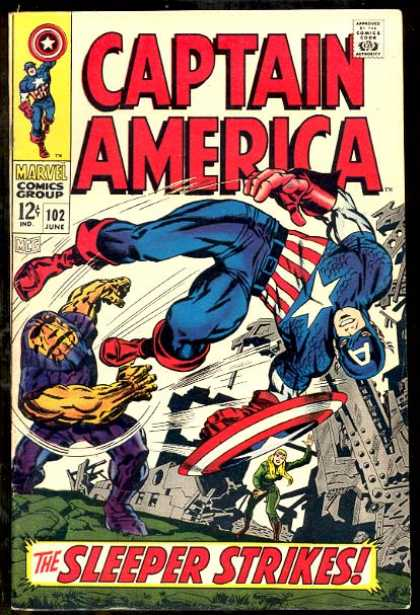 Captain America 102 - The Sleeper Strikes - Sheild - Ruined City - Villians - Fight - Jack Kirby