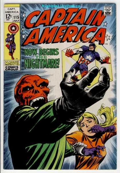 Captain America 115 - Cube - Now Begins Nightmare - Skull - Scream - Stars - John Severin