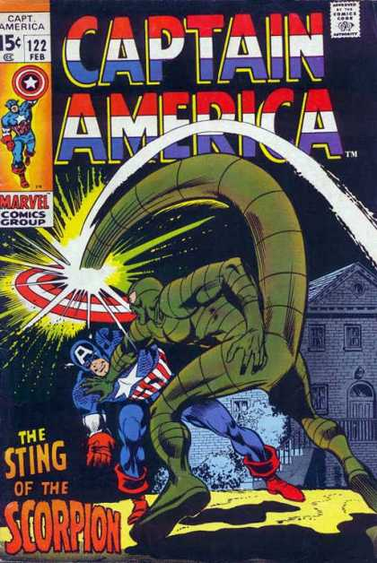 Captain America 122 - Sting - Scorpion - Marvel Comics - Red White And Blue - Superhero - Gene Colan